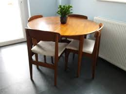 retro teak round dining table 4 chairs vintage extending table