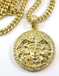 hot new 35mm ice out gold finish medusa head medallion pendant charm 24 chain us