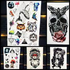 černý Sprej Falešný Dočasné Tetování Lebky Tělo Umění Rameno Rukáv