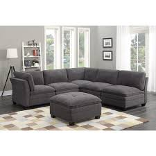 6 piece modular sectional. Wonderful Sectional MStar International 6 Piece Modular Grey Fabric Sectional Sofa On S