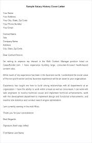 Salary History Cover Letter Salary History Letter Resume With Sample