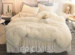 vivilinen solid white simple style quilting bed skirt 4 piece fluffy bedding sets duvet