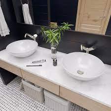 18 Round Ceramic Above Mount Bathroom Basin Vessel Sink Contemporary Bathroom Sinks By Buildcom
