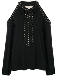 michael michael kors studded cut out sweater black women