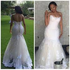 elegant africa lace mermaid wedding dresses plus size corset back