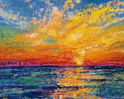 free diy painting tutorial ocean sunset palette knife techniques acrylic beginner step by step lesson painting ocean sunset