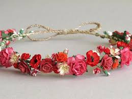 Red Paper Flower Red Paper Flower Crown Made Of Mulberry Paper Flowers And Natural Twine