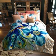 watercolor comforter set queen bright colored peacock and flower watercolor bedding set queen king size duvet