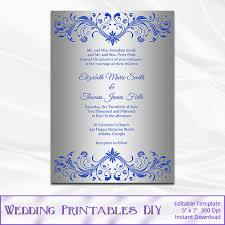 Royal Invitation Template Royal Blue And Silver Wedding Invitation Template Diy