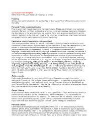 cv profile examples template cv profile examples