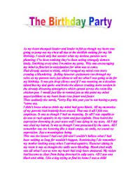 autobiography the birthday party gcse english marked by page 1 zoom in