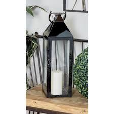 litton lane silver candle lanterns with handles set of 2