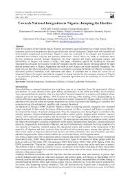 towards national integration in ia jumping the hurdles research on humanities and social sciences iiste org issn 2222 1719