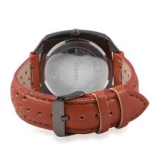 strada japanese movement water resistant watch with tangerine faux leather straps stainless steel
