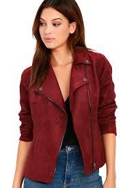 olive oak faux suede jacket wine red jacket moto jacket 118 00