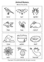 Small Picture Animal Homes PDF Printable Organization or everything else