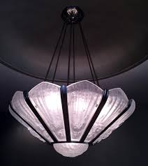 french art deco frosted glass chandelier by genet et michon