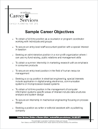 Professional Objectives For Resume Best Sample Resume Job Objective Examples Of On A Example For Career