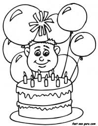 Small Picture 7 years boy with birthday cake and balloon coloring pages