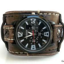 distressed leather cuff watch men s watch mens wrist watch brown bracelet watch