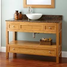 Bamboo Bathroom Cabinets 48 Narrow Depth Miles Bamboo Vessel Sink Console Vanity Bathroom