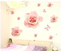 rose wall decals big beautiful rose wall stickers decals pink flower adhesive vinyl wallpaper mural girls