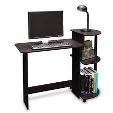 dark wooden half round office desk for book storage