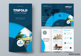 Buy Brochure Templates Dark Blue Trifold Brochure Layout With Circles Buy This