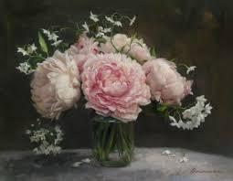 pink sarah bernhardt peony peonies flowering potato vine mason jar oil painting candice bohannon artist aluminum
