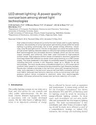 Pdf Led Street Lighting A Power Quality Comparison Among Street