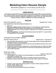 Resume Objective For Internship Marketing Intern Resume Sample Writing Tips Resume Companion