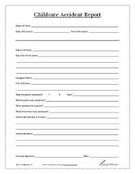 Child Accident Report Form Daycare Pinterest Childcare