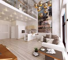 contemporary modern home decor with industrial wall design complete with ceiling lights and contemporary lamps also modern white sofa plus cushions near