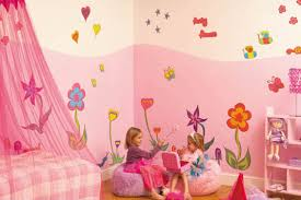pink wallpaper girls bedroom flower decor giant funky flower wall stickers bring a litle girls room to life with