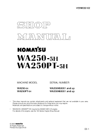Komatsu Excavator Bucket Pin Size Chart Komatsu Wa250 5h Wheel Loader Service Repair Manual Sn