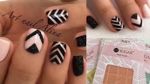 <b>Дизайн Ногтей</b> с <b>Трафаретами</b>! Маникюр с Полосками + Черный ...