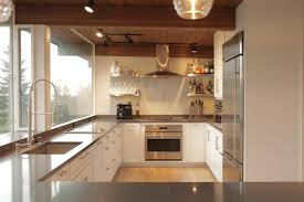 Modern Kitchen White Cabinets Sleek Gray Countertops Look Clean And Crisp Against The White