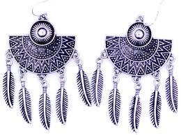 boho dream cher style antique silver colcoured fan leaf chandelier earrings