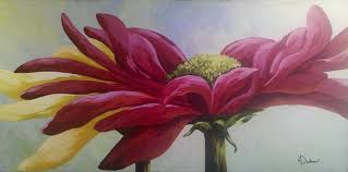 red painting red gerbera daisy by karen dukes