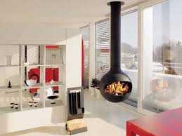 View in gallery Scandinavian living room with suspended fireplace