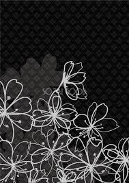 黒背景に描かれた桜の花のイメージデザイン無料フリーイラスト83238