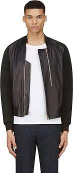 paul smith black leather neoprene mesh er jacket