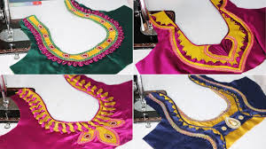 Double Colour Blouse Back Neck Designs Top 20 Most Trending Stylish Back Neck Blouse Designs