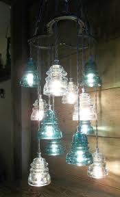 horse shoe antique glass insulator pendant chandelier light fixture glass art