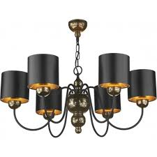 garbo medium 6 light chandelier fitting in bronze finish with black shades