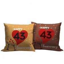 43rd wedding anniversary gift set of 2 printed cushion with filler
