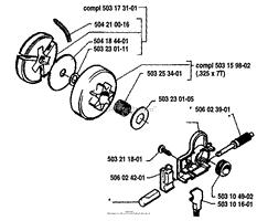 husqvarna 45 1987 01 parts diagrams oil pump clutch