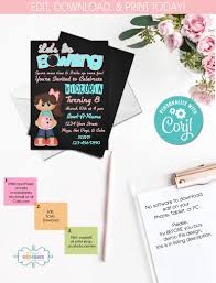 Party On Designs Etsy On Sale Diy Bowling Party Invitations Sports Party Instant Access Bowling Party Birthday Party Templett 287