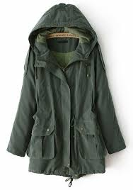 army green drawstring pockets cotton blend padded coat