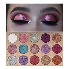amazon beauty glzaed 15 colors glitter make up powder metallic shimmer eye shadow palette highly pigmented mineral cosmetic makeup eyeshadow beauty